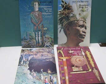 Philippine Culture Book Set Vintage 1960s Museum Catalogs 4 Booklets Folk Art Tourist Souvenir Collection Filipino Painting Muslim Pamphlets