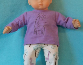 15 inch Doll Flannel Giraffe Pajamas with Feet