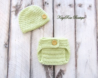 Newborn to 3 Month Old Baby Hat and Diaper Cover Set Lime Green