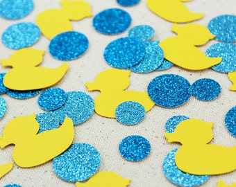 Rubber Ducky Bubble Bath Glitter Confetti - 125 pieces - Baby Showers, Table confetti, Party Decorations