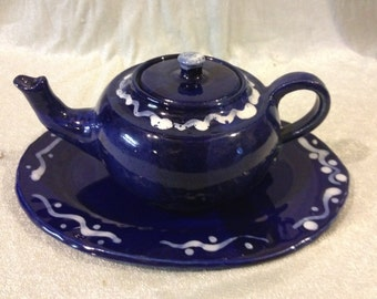 Cobalt Blue with white slip 2 cup teapot and platter