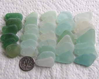 36 Sea Glass Imperfections Dangles Top Drilled 1.5mm holes Supplies (1642)