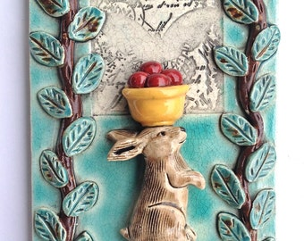 Ceramic Art tile,  Bunny with Bowl of Cherries