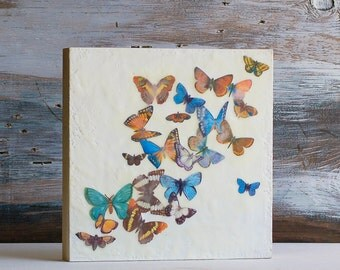 Butterfly Painting, Butterfly Encaustic, Mixed Media Butterfly, Wedding Gift,Nursery Decor,Girl's Room Decor,Butterfly Art,Vintage Butterfly