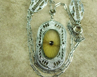 Vintage Art Deco Necklace Camphor glass fancy with amazing filigree