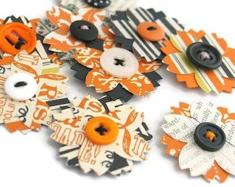 HALLOWEEN Paper Flowers, Flower Embellishments, Handmade Scrapbook Embellishments, Junk Journal, Daily Planner, Project Life - Set of 9