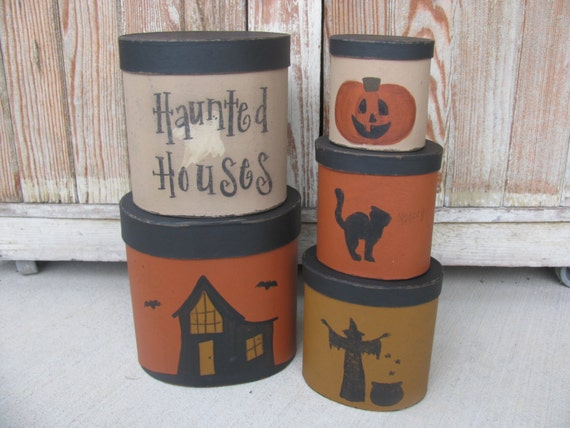 Primitive Halloween Witch Ghost Black Cat Hand Painted Oval Set of 5 Stacking Boxes GCC4661