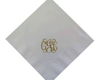 FREE SHIPPING! Pack of 100 foil or ink stamped plush napkins with your monogram.  Lots of color choices.
