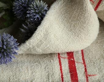 Nr. A68:  Grain Sack antique BRIGHT RED pillow benchcushion 49.61 long wedding decoration