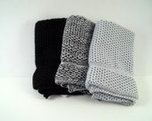 Dishcloths Knit in Cotton in Black, Lt Grey and Black/White/LtGrey, Knit Washcloth, Dish Cloth, Wash Cloth