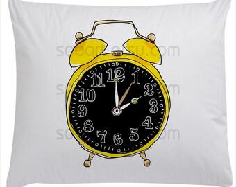 yellow alarm clock cute art painting  -Original Illustrate Drawing  A4 Transfer Print Pillows, t-shirts, scrapbook, lampshades