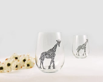 Giraffe wine glasses - Hand painted stemless wine glasses - Set of 2 - Safari Collection