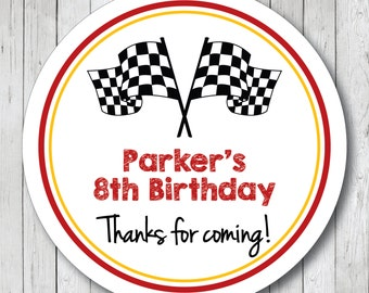 Personalized Racing Flags Birthday Thank You Stickers, Labels or Tags