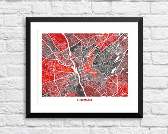 Columbia SC Map Print.  Color Options and Size Options Available.  Perfect for your University of South Carolina Gamecock.