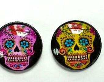 Sugar Skull Magnets -  Magnet Set of 6 - Sugar Skulls - Day of the Dead - 1 Inch Domed Glass Circles