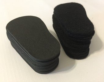 """2mm Doll Soles, 24-Pack Doll Soles, 12-Black 2mm Foam Doll shoe Soles, 12-Black Felt Doll shoe Soles, 18"""" die cut doll soles, free shipping"""