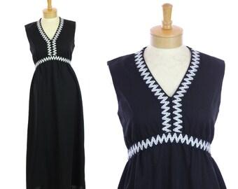 60s Mod Hostess Dress 1960s Vintage Black Empire Waist Silver Trim 70s 1970s 1960s Retro Party Dress Small S Medium M