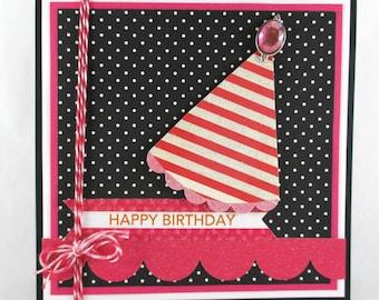 Birthday card for girls, girls birthday cards, happy birthday, pink, handcrafted birthday cards