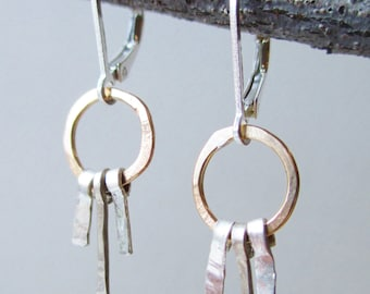Small hammered hoop, two tone earring with lever back