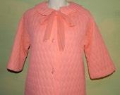 M Vintage 60s Tangerine Orange Quilted Robe Lisanne As Is