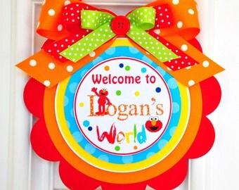 Elmo Door Sign, Elmo Welcome Door Hanger, Elmo Birthday Party Decorations