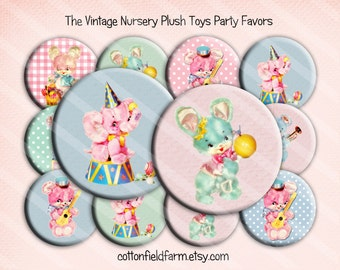 The Vintage Nursery Baby Shower or Birthday Party Favors 2.25 inch Pin Back Buttons, Mirrors or Magnets  Set of 12