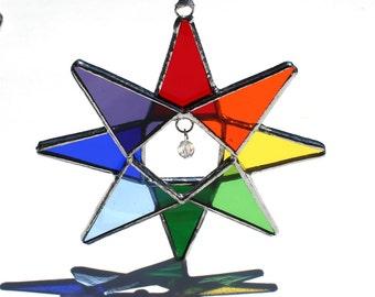 Rainbow Crystal Star - Stained Glass Star Ornament-Home Decor - Christmas Decor