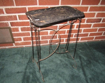 Vintage 1950s Fun Black Metal Standing Snack Tray Table with Chinoserie Design