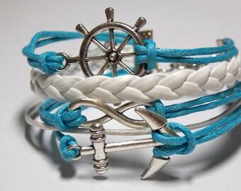 Nautical Anchor Infinity Ships Wheel-Helm Charm Bracelet Silver Turquoise White Leather Cotton Cord Charm Bracelet,Girlfriend Friendship