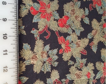 Christmas Cotton Fabric Hoffman Boughs of Holly 2yd