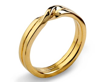 love knot 14k yellow gold wedding band unique mens wedding band womens wedding band - Gold Wedding Rings For Women