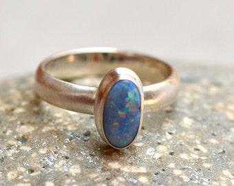 Fire Opal Ring. Blue Opal Sterling Silver Ring. Silversmith. October Birthstone. Gemstone Minimalist Ring. Fine Jewelry. Size 6