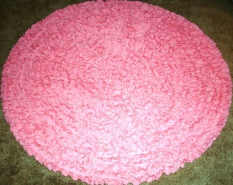 Pink Round Rug 5', Shag Rag Rug, Pink Shag Rug, Kids Rug, Nursery Rug, Ruffled Rug, Princess Rug,  Baby Shower