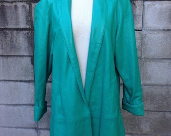 Teal Leather Jacket Coat Vintage 1980s Vakko Long Overcoat