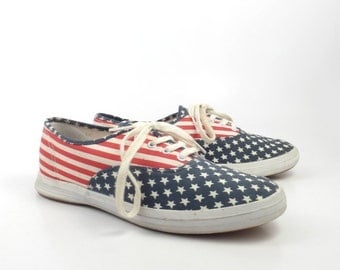 Keds Canvas Sneakers Vintage 1990s Champions Flag Stars and Stripes Women's size 8