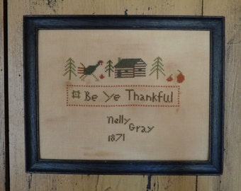 Primitive Cross Stitch Pattern BE YE THANKFUL Pdf