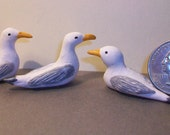 3 Miniature Sea Gulls  1:12 scale
