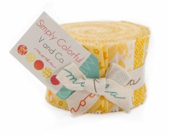 """Simply Colorful Yellow Jelly Junior Roll by V & Co. for Moda - 20 Count Rolls of 2 1/2"""" x WOF strips"""