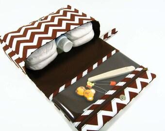 Brown chevron diaper bag, baby bag organizer, dark brown diaper clutch, diaper purse with clear zipper pouch, nappy bag