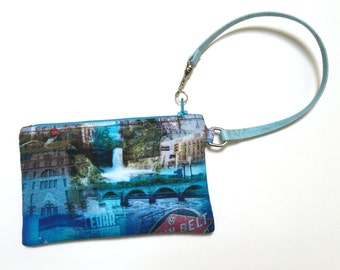 Minneapolis Collage Zippered Wristlet Clutch