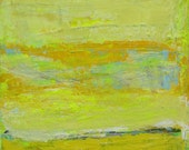 Yellow Abstract Art Landscape Modern Painting, 24 x 24 inches
