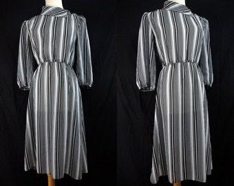 SALE 1970s Striped Secretary Dress Long Sleeve Black White Button Small Medium Day Dress