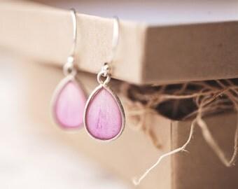 Peony earrings - Silver Teardrop earrings - Light Pink drop earrings - Light Peony silver earrings - Pink earrings - Flower jewelry  (E148)