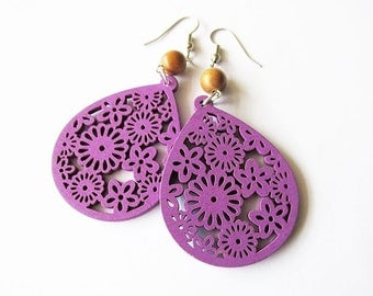 Purple Wooden Floral Teardrop Earrings with Brown Wooden Beads