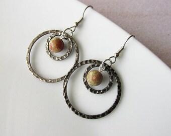 Hammered Steel Hoop Earrings , Boho Hippie Handcrafted Jewellery