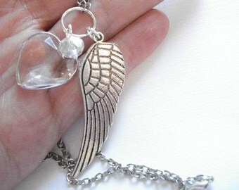 Silver Angel Wing Necklace Heart with Crystal Guardian Angel Necklace Angel wing Memorial Necklace Heart Jewelry Feather Necklace
