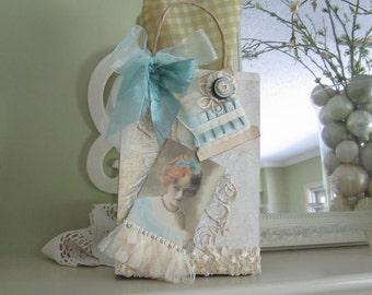 Victorian Gift Bag - Vintage-style Teal Gift Bag - Shabby Chic Gift Bag