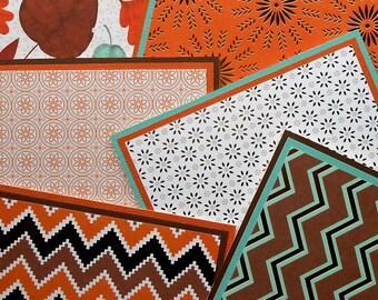 Blank Notecard Set: 6 Different Cards with Matching Embellished Envelopes - Harvest Home