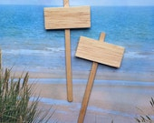 Miniature Natural Wooden Blank Signs - Two Mini Wooden signs for Beach Wedding Cake or Cupcakes