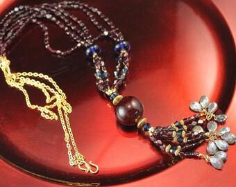 The Ondine Exotic Garnet Nugget, Indigo Lampwork Bead, Swarovski Crystal, Labradorite Briolette & Bali Vermeil Necklace with Dragon Agate
